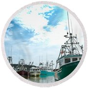Fishing Boats Round Beach Towel