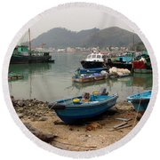 Fishing Boats - Hong Kong Round Beach Towel