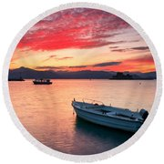 fishing boats 'II Round Beach Towel