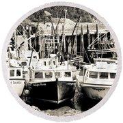 Fishing Boats In Alma Round Beach Towel