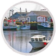 Fishing Boats In Branch-nl Round Beach Towel