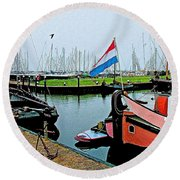 Fishing Boats In Enkhuizen-netherlands Round Beach Towel