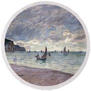 Fishing Boats In Front Of The Beach And Cliffs Of Pourville Round Beach Towel