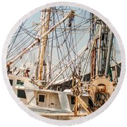 Fishing Boats In Harbour Round Beach Towel