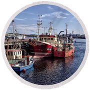 Fishing Boats In Killybegs Donegal Ireland Round Beach Towel