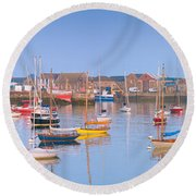 Fishing Boats In The Howth Marina Round Beach Towel