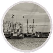 Fishing Boats - Wildwood New Jersey Round Beach Towel