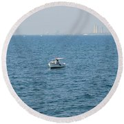 Fishing Can Be Lonely Round Beach Towel
