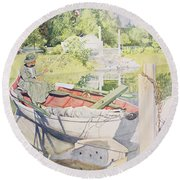 Fishing Round Beach Towel by Carl Larsson