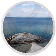 Fishing Cone Geyser In West Thumb Geyser Basin Round Beach Towel
