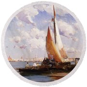 Fishing Craft With The Rivere Degli Schiavoni Venice Round Beach Towel