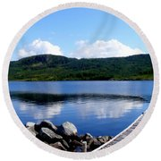 Fishing Day - Calm Waters - Digital Painting Round Beach Towel