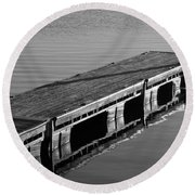 Fishing Dock Round Beach Towel by Frozen in Time Fine Art Photography