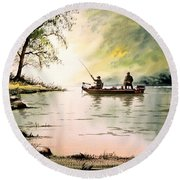 Fishing For Bass - Greenbrier River Round Beach Towel