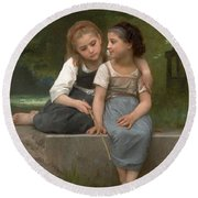 Fishing For Frogs Round Beach Towel by William Bouguereau