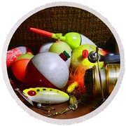 Fishing - Freshwater Tackle Round Beach Towel by Paul Ward