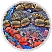 Fishing Gear Round Beach Towel by Heidi Smith