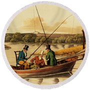 Fishing In A Punt Round Beach Towel