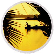 Fishing In Gold Round Beach Towel by Karen Wiles