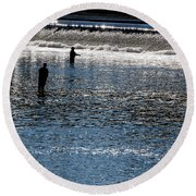 Fishing In Grand River Round Beach Towel