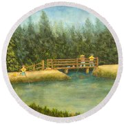 Fishing In New England Round Beach Towel