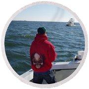 Fishing In Rough Seas Round Beach Towel