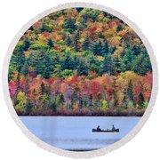 Fishing In The Fall Colors On Lake Chocorua Round Beach Towel