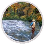 Fishing In The Fall Round Beach Towel