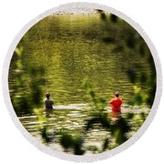 Fishing In The Pond Round Beach Towel