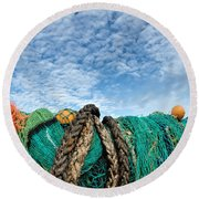 Fishing Nets And Alto-cumulus Clouds Round Beach Towel