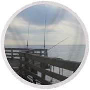 Fishing Off Rodanthe Pier Round Beach Towel