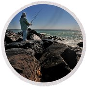 Fishing Off The Jetty Round Beach Towel