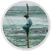 Fishing On A Pole Round Beach Towel