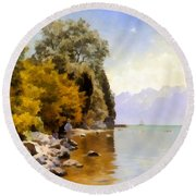 Fishing On Lac Leman Round Beach Towel