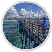 Fishing On Oceanside Pier Round Beach Towel