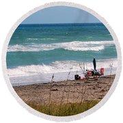 Fishing On The Beach Round Beach Towel
