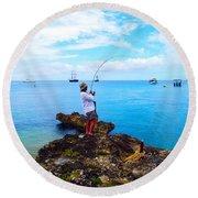 Fishing Paradise Round Beach Towel