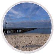 Fishing Pier 3 Round Beach Towel