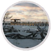 Fishing Pier And Driftwood Round Beach Towel
