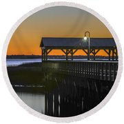 Fishing Pier At Dusk Round Beach Towel