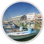Fishing Port In Jaffa Tel Aviv Israel Round Beach Towel