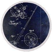 Fishing Reel Patent 1939 Blue Round Beach Towel