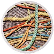 Fishing Ropes And Net Round Beach Towel