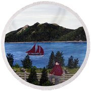 Fishing Schooner Round Beach Towel