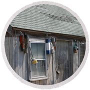 Fishing Shack In Rockport Ma Round Beach Towel