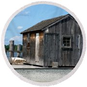 Fishing Shack On The Mystic River Round Beach Towel