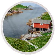 Fishing Stage Little Fogo Island Newfoundland Round Beach Towel