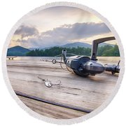 Fishing Tackle On A Wooden Float With Mountain Background In Nc Round Beach Towel