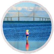Fishing Tampa Bay Round Beach Towel by David Lee Thompson