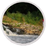 Fishing The Spillway Round Beach Towel